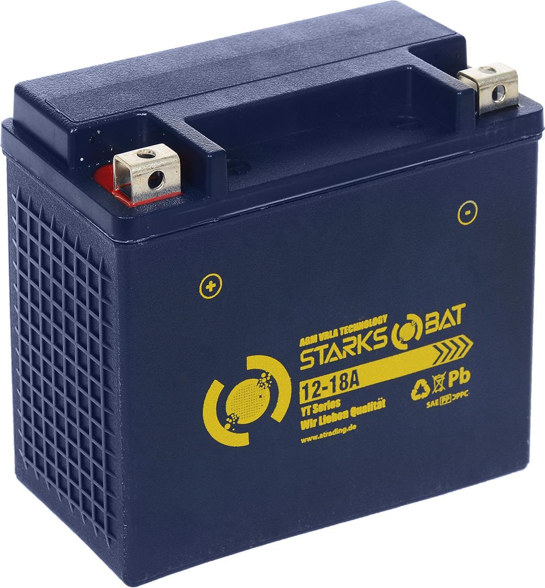 Батарея аккумуляторная для мотоциклов Starksbat. YT 12-18А (YTX20-BS)YT 12-18ААккумулятор Starksbat изготовлен по технологии AGM, обеспечивающей повышенный уровень безопасности батареи и удобство ее эксплуатации. Корпус выполнен из особо ударопрочного и морозостойкого полипропилена. Аккумулятор блестяще доказал свои высокие эксплуатационные свойства в самых экстремальных условиях бездорожья, высоких и низких температур. Аккумуляторная батарея Starksbat производится под знаменитым немецким контролем качества, что обеспечивает ему высокие пусковые характеристики и восстановление емкости даже после глубокого разряда. Напряжение: 12 В. Емкость: 18 Ач. Полярность: прямая (+ -). Ток холодной прокрутки: 230 Аh (EN).