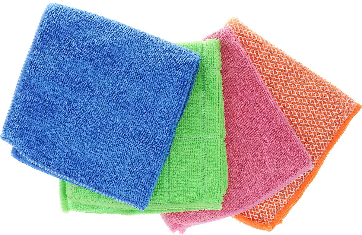 Набор салфеток Airline, для уборки, 30 х 30 см, 4 штAB-V-06_синий,оранжевый,розовый, салатовыйНабор многофункциональных салфеток Airline выполнен из высококачественного полиэстера и полиамида. Каждая нить после специальной химической обработки расщепляется на 12-16 клиновидных микроволокон. Микрофибровое полотно удаляет грязь с поверхности намного эффективнее, быстрее и значительно более бережно в сравнении с обычной тканью, что существенно снижает время на проведение уборки, поскольку отсутствует необходимость протирать одно и то же место дважды. Набор обладает уникальной способностью быстро впитывать большой объем жидкости. Клиновидные микроскопические волокна захватывают и легко удерживают частички пыли, микроорганизмы. Салфетки великолепно удаляют пыль и грязь. Протертая поверхность становится идеально чистой, сухой, блестящей, без разводов и ворсинок. Микрофибра устойчива к истиранию, ее можно быстро вернуть к первоначальному виду с помощью машинной стирки при малом количестве моющих средств. Состав: 80%...