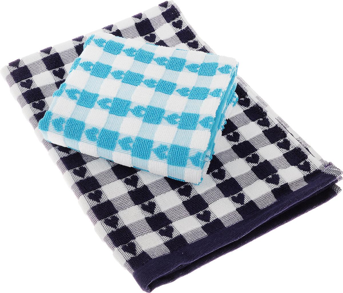Набор кухонных полотенец Toalla Сердечки, цвет: фиолетовый, голубой, 50 x 70 см, 2 шт00000000064Набор Toalla Сердечки состоит из двух прямоугольных полотенец, выполненных из 100% хлопка. Изделия предназначены для использования на кухне и в столовой. Набор полотенец Toalla Сердечки - отличное приобретение для каждой хозяйки. Комплектация: 2 шт.