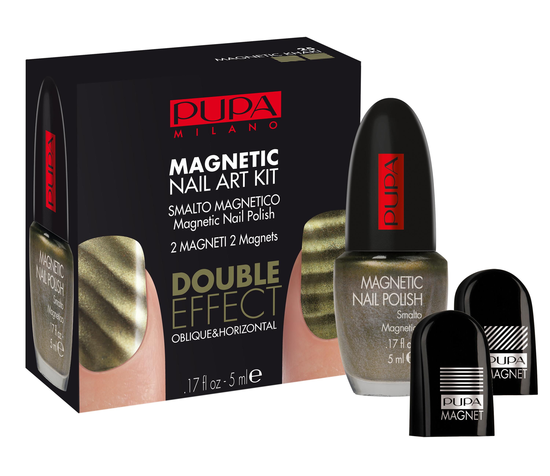 """Pupa Набор для маникюра с магнитным лаком №25 хаки Magnetic nail art kit, 5 мл341025Эксклюзивный косметический набор для """"притягательного"""" маникюра! В составе набора Вы найдете: магнитный лак для ногтей с металлическим эффектом: содержит частички металла, которые при взаимодействии с магнитом, образуют удивительные узоры на ногтях, придают маникюру особенное сияние и обеспечивают безупречное покрытие. Магниты (2 шт.): с эффектoм горизонтальных и диагональных линий."""