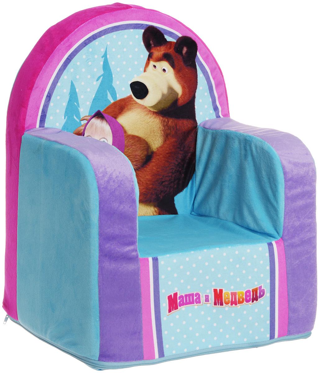 СмолТойс Мягкая игрушка Кресло Маша и Медведь цвет голубой 54 см