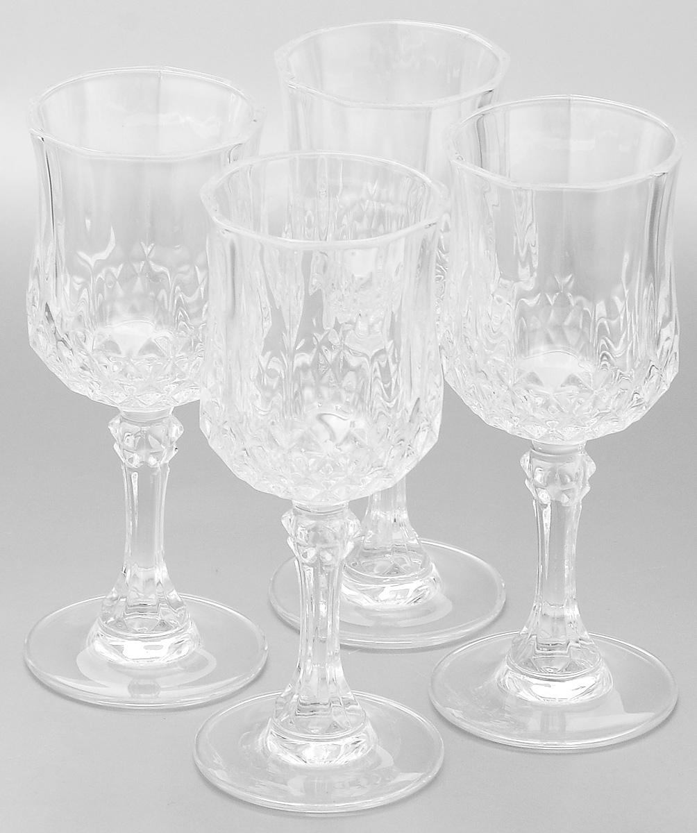 Набор рюмок Cristal dArques Longchamp, 60 мл, 4 штVT-1520(SR)Набор Cristal dArques Longchamp состоит из четырех рюмок, выполненных из прочного стекла. Изделия оснащены высокими ножками и предназначены для подачи различных напитков. Они сочетают в себе элегантный дизайн и функциональность. Благодаря такому набору пить напитки будет еще вкуснее.Набор рюмок Cristal dArques Longchamp прекрасно оформит праздничный стол и станет хорошим подарком к любому случаю. Диаметр рюмки (по верхнему краю): 4,5 см. Высота рюмки: 11,5 см. Диаметр основания рюмки: 5 см.