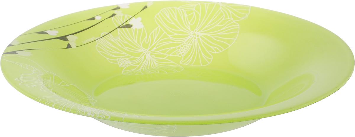 Тарелка глубокая Luminarc Rhapsody Green, диаметр 21,5 смH8552Глубокая тарелка Luminarc Rhapsody Green выполнена из ударопрочного стекла и украшена цветочным изображением. Изделие сочетает в себе изысканный дизайн с максимальной функциональностью. Она прекрасно впишется в интерьер вашей кухни и станет достойным дополнением к кухонному инвентарю. Тарелка Luminarc Rhapsody Green подчеркнет прекрасный вкус хозяйки и станет отличным подарком. Диаметр тарелки по верхнему краю: 21,5 см.