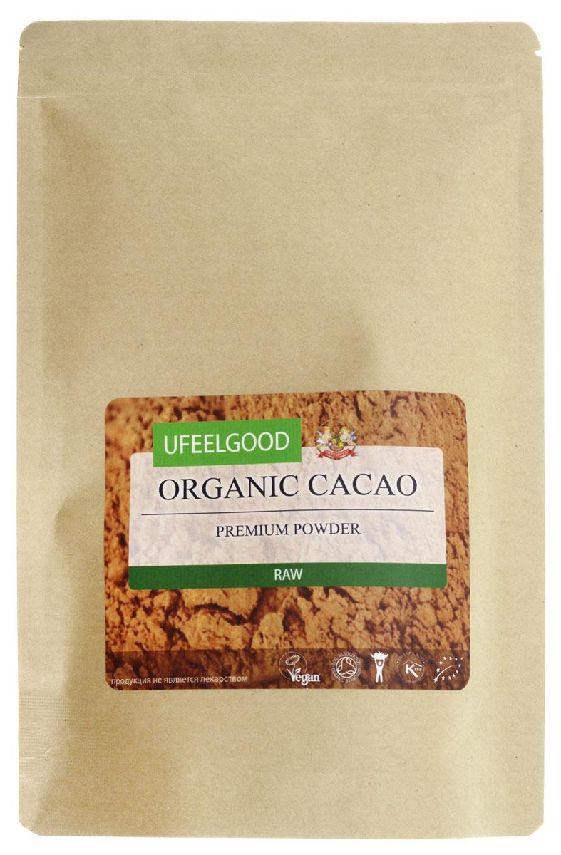 UFEELGOOD Organic Cacao Premium Powder органический какао порошок, 200 г110Польза какао для здоровья признана цивилизациями века назад. Сегодня современные диетологи научно доказывают многие преимущества, которые оно может предложить, и его пищевой рейтинг значительно вырос. Исследователи Корнельского университета заключили, что какао имеет в два раза большую концентрацию антиоксидантов, чем в красном вине, и в три раза большую, чем в зеленом чае.