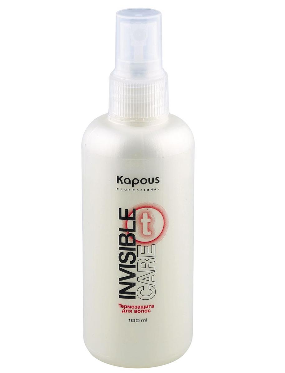 Kapous Professional Термозащита для волос «Invisible Care» 100 млБ33041_шампунь-барбарис и липа, скраб -черная смородинаТермозащита для волос «Invisible Care» Kapous.Несмываемый спрей - защита, обеспечивает легкую фиксацию волос, сохраняя их естественное движение и не утяжеляя.Благодаря содержанию шелковичных протеинов и гидролизованным протеинам пшеницы придает объем и силу, поддерживает гидролипидный баланс, предотвращает выцветание окрашенных волос.Идеальное средство для бережного ухода за волосами во время теплового воздействия фена и выпрямляющих «утюжков».Подходит для всех типов волос для ежедневных укладок.Предотвращает статический эффект.Оптимальная мягкость и кондиционирование. Защита от влажности на 30% дольше.Подходит для ежедневных укладок. Результат: Оказывает кондиционирующее действие, придаёт гладкость и эластичность, выпрямляет вьющиеся волосы и сохраняет прическу до следующего мытья головы даже при высокой влажности воздуха.