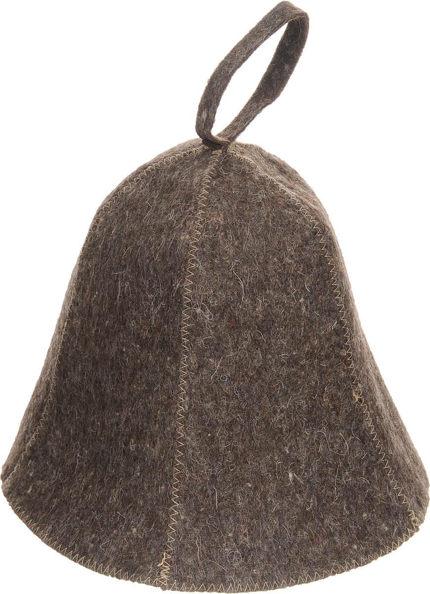 Шапка для бани и сауны Proffi Sauna, цвет: коричневыйPS0177Шапка для бани и сауны Proffi Sauna, изготовленная из войлока, это незаменимый аксессуар для любителей попариться в русской бане и для тех, кто предпочитает сухой жар финской бани. Шапка защитит вас от появления головокружения в бане, ваши волосы от сухости и ломкости, а голову от перегрева. Такая шапка станет отличным подарком для любителей отдыха в бане или сауне. Обхват головы: 76 см. Высота шапки (без учета петельки): 21 см.