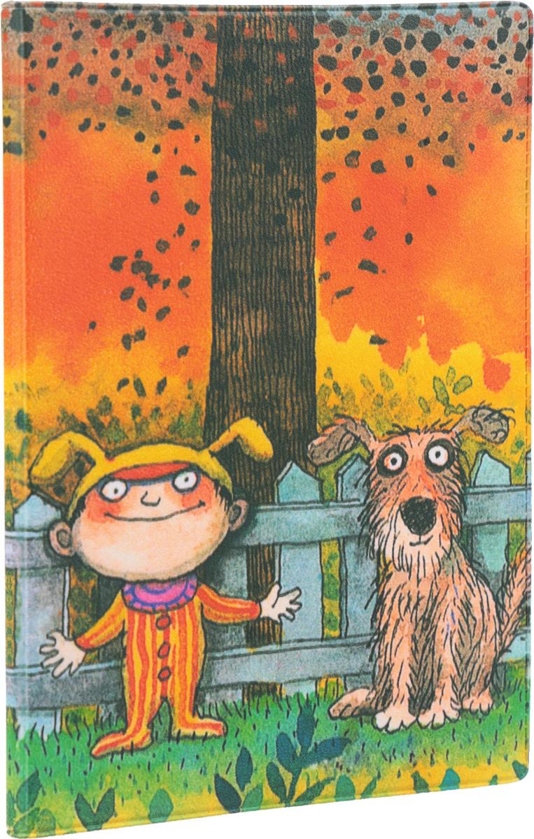 Обложка для паспорта Mitya Veselkov Мальчик и пес, цвет: оранжевый, зеленый. OZAM348OZAM348Обложка для паспорта Mitya Veselkov Мальчик и пес не только поможет сохранить внешний вид ваших документов и защитить их от повреждений, но и станет стильным аксессуаром, идеально подходящим вашему образу. Обложка выполнена из поливинилхлорида и оформлена рисованным изображением мальчика с собачкой, стоящих у забора. Внутри имеет два вертикальных клапана из прозрачного пластика. Такая обложка поможет вам подчеркнуть свою индивидуальность и неповторимость! Обложка для паспорта стильного дизайна может быть достойным и оригинальным подарком.