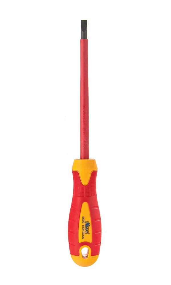 Отвертка диэлектрическая крестовая Kraft PH1х80 КТ 700429КТ 700429- отвертка диэлектрическая крестовая 1x80mm (до 1000 В, стандарт VDE)