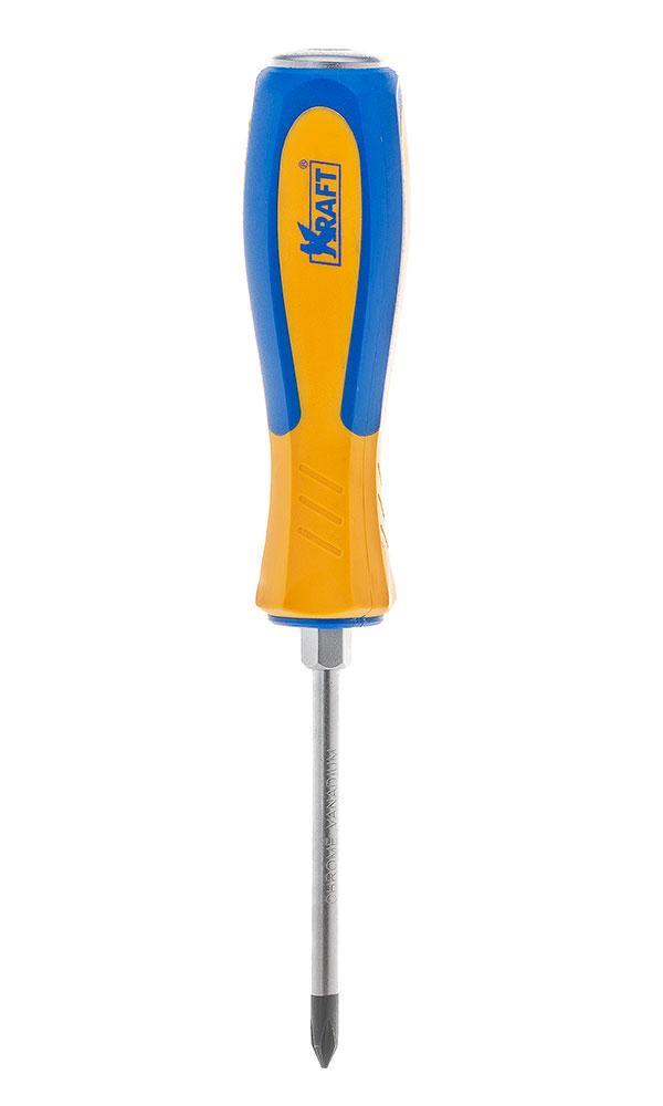 Отвертка усиленная крестовая Kraft PH1х75 КТ 70043480621- отвертка усиленная под ключ крестовая 1x75 mm (рукоятка двухкомпонентная, намагниченный наконечник, Cr-V)
