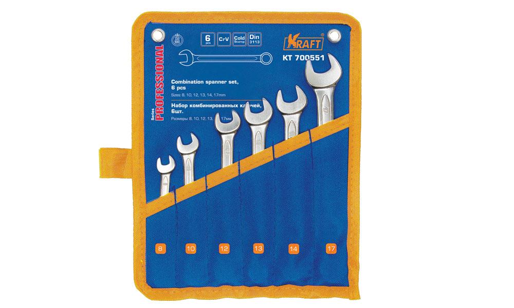 Ключ комбинированный Kraft набор 6 шт: 8,10,12,13,14,17мм КТ 700551КТ 700551- 6 шт: 8,10,12,13,14,17mm, Cr-V