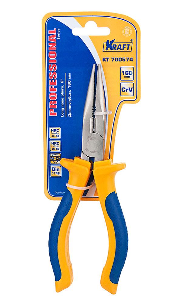 Длинногубцы Kraft 160 мм КТ 700574КТ 700574- Cr-V, двухкомпонентная рукоятка