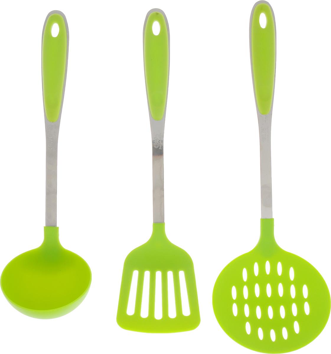 Набор кухонных принадлежностей Calve, цвет: салатовый, 3 предметаCL-1362_салатовыйНабор кухонных принадлежностей Calve включает в себя: шумовку, лопатку и половник. Изделия выполнены из нейлона. В ручках имеются специальные отверстия для удобного подвешивания. Этот профессиональный набор очень удобен в использовании. Наслаждайтесь приготовлением пищи с вашим набором кухонных принадлежностей от Calve. Размер рабочей поверхности шумовки: 11 х 11 см. Длина шумовки: 35 см. Размер рабочей поверхности лопатки: 10 х 8 см. Длина лопатки: 33 см. Размер рабочей поверхности половника: 9 х 9 х 3,5 см. Длина половника: 30 см.