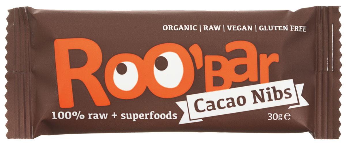 ROOBAR Cacao Nibs Organic батончик, 30 г166Батончик ROOBAR Cacao Nibs Organic содержит какао - бобы кусочками и миндаль. Приятный сладкий вкус фиников, ореховый аромат из кусочков сырого миндаля, хрустящие кусочки перуанских какао-бобов и много сырого какао-порошка, а также двойной шоколадный вкус подарят вам истинное наслаждение. Здоровая пища может быть вкусной!