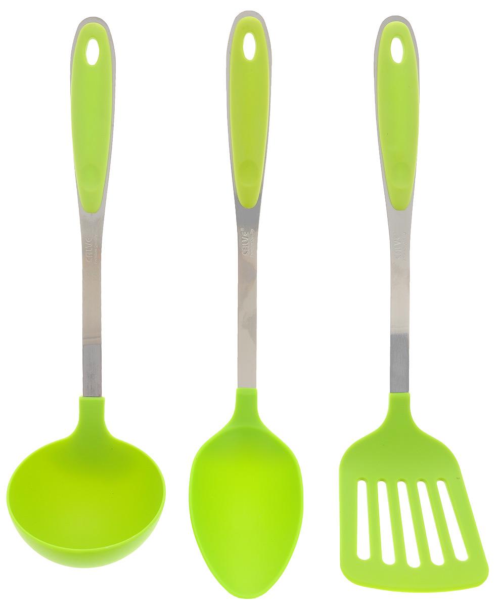 Набор кухонных принадлежностей Calve, цвет: салатовый, 3 предмета. CL-1363CL-1363_салатовыйНабор кухонных принадлежностей Calve включает в себя кулинарную ложку, лопатку и половник. Изделия выполнены из нейлона и нержавеющей стали. В ручках имеются специальные отверстия для удобного подвешивания. Этот профессиональный набор очень удобен в использовании. Наслаждайтесь приготовлением пищи с вашим набором кухонных принадлежностей от Calve. Размер рабочей поверхности ложки: 10 х 6,5 см. Длина ложки: 33 см. Размер рабочей поверхности лопатки: 10 х 8 см. Длина лопатки: 32 см. Размер рабочей поверхности половника: 9 х 9 х 4,5 см. Длина половника: 32 см.