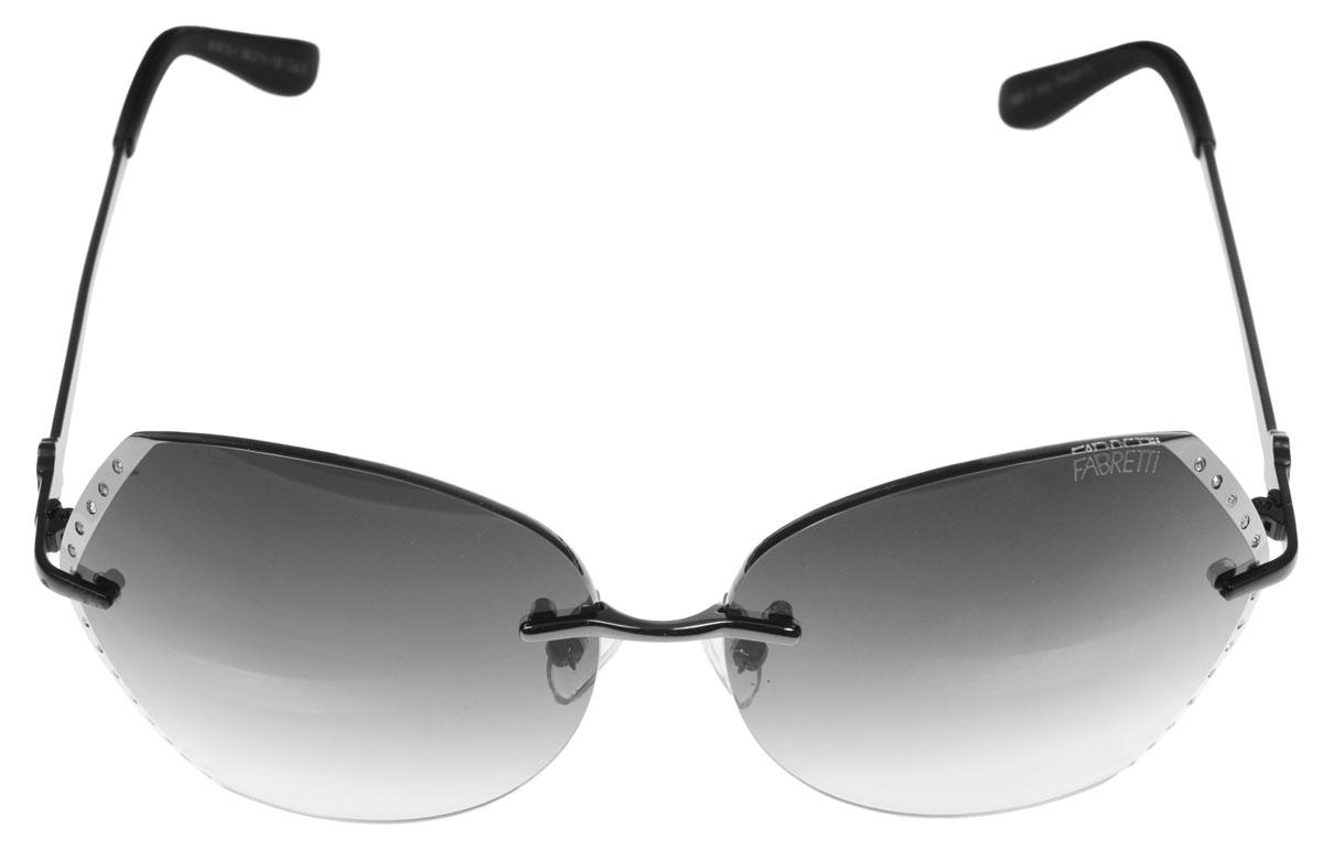 Очки солнцезащитные женские Fabretti, цвет: черный, стальной. A1615-1CF632YСолнцезащитные женские очки Fabretti выполнены с фотохромными линзами оригинальной формы из высококачественного пластика. Поверхность по краям декорирована стразами. Используемые линзы корригируют зрение (улучшают зрение до максимально достижимой с очками остроты зрения) и изменяют степень своего затемнения в зависимости от интенсивности солнечного света. Линзы имеют степень затемнения Cat. 2.Металлическая оправа с пластиковыми дужками декорирована оригинальным цветком. Оправа легкая, прилегающей формы и поэтому не создает никакого дискомфорта.Такие очки защитят глаза от ультрафиолетовых лучей, подчеркнут вашу индивидуальность и сделают ваш образ завершенным.