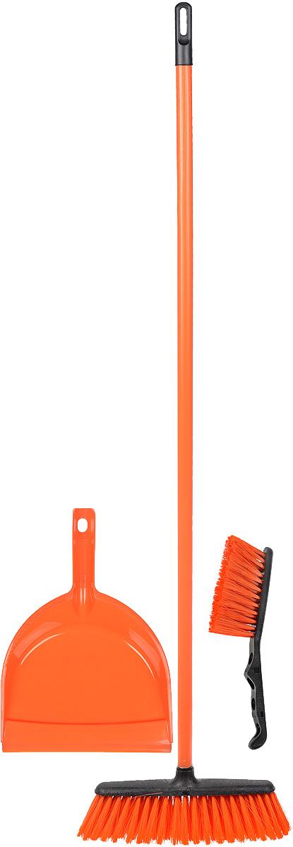 Набор для уборки York Combi Centi, цвет: оранжевый, 3 предмета8205_оранжевыйНабор York Combi Centi состоит из совка, щетки- сметки и щетки-метелки, изготовленных из высококачественного пластика и сложных полимеров. Вместительный совок удерживает собранный мусор и позволяет эффективно и быстро совершать уборку в любом помещении. Сглаженный край совка обеспечивает наиболее плотное прилегание к полу. Щетка-метелка имеет удобную форму, позволяющую вымести мусор даже из труднодоступных мест. Щетка-сметка предназначена для уборки небольших поверхностей. Все предметы набора оснащены ручками с отверстиями для подвешивания. Черенок щетки- метелки выполнен из металла. С набором York Combi Centi уборка станет легче и приятнее. Общая длина щетки-метелки: 117 см. Длина ворса щетки-метелки: 7 см. Общая длина щетки-сметки: 26 см. Длина ворса щетки-сметки: 5 см. Длина совка: 32,5 см. Размер рабочей части совка: 23 х 22 х 5 см.