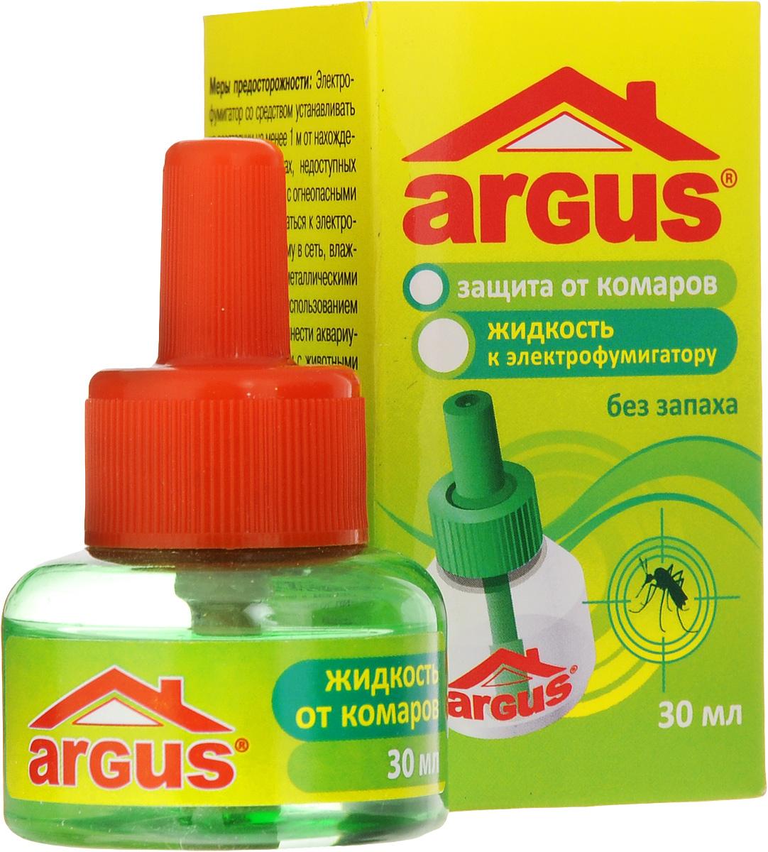 Жидкость от комаров Argus, без запаха, 30 млСЗ.020001Один флакон жидкости Argus объемом 30 мл рассчитан не менее чем на 360 часов! Использование жидкости с фумигатором в течение 30 минут обеспечивает полную гибель мух, комаров и мошек. Используется в помещении площадью не менее 16 м2 при открытых окнах. Средство не имеет запаха. Состав: эток 0,9%, испарители, антиоксиданты, растворители.