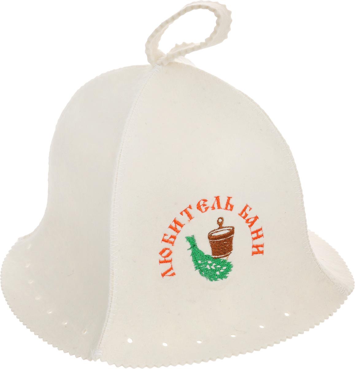 Шапка для бани и сауны Proffi Люкс. Любитель бани, мужская531-105Банная шапка Proffi изготовлена из высококачественного войлока и декорирована надписью Любитель бани. Банная шапка - это незаменимый аксессуар для любителей попариться в русской бане и для тех, кто предпочитает сухой жар финской бани. Кроме того, шапка защитит волосы от сухости и ломкости, голову от перегрева и предотвратит появление головокружения. На шапке имеется петелька, с помощью которой ее можно повесить на крючок в предбаннике. Такая шапка станет отличным подарком для любителей отдыха в бане или сауне.Обхват головы: 70 см.Высота шапки (без учета петельки): 25 см.