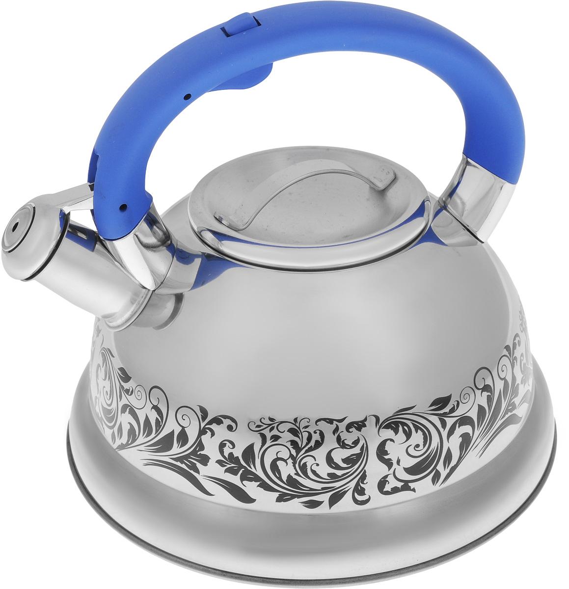 Чайник Mayer & Boch, со свистком, цвет: стальной, синий, 2,6 л. 2341723417Чайник Mayer & Boch выполнен из нержавеющей стали с зеркальной полировкой, что делает его весьма устойчивым к износу при длительном использовании. Изделие оснащено откидным свистком, который громко оповестит о закипании воды. Удобная эргономичная ручка изготовлена из бакелита. Такой чайник идеально впишется в интерьер любой кухни и станет замечательным подарком к любому случаю. Подходит для всех типов плит, включая индукционные. Можно мыть в посудомоечной машине. Диаметр чайника (по верхнему краю): 10 см. Диаметр индукционного диска: 18 см. Высота чайника (с учетом ручки): 20,5 см.