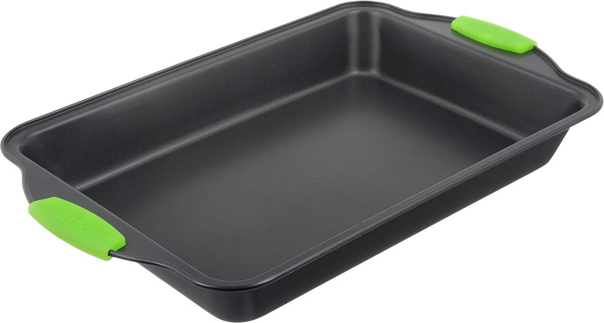 Форма для выпечки Calve, с антипригарным покрытием, цвет: темно-серый, зеленый, 40 х 25 смCL-4582Форма для выпечки Calve изготовлена из высококачественной углеродистой стали с антипригарным покрытием и оснащена ручками с силиконовыми вставками. Форма равномерно и быстро прогревается, что способствует лучшему пропеканию пищи. Ее легко чистить. Готовая выпечка без труда извлекается. Форма подходит для использования в духовке. Перед каждым использованием ее необходимо смазать небольшим количеством масла. Простая в уходе и долговечная в использовании форма для выпечки Calve станет верным помощником в создании ваших кулинарных шедевров. Можно мыть в посудомоечной машине. Размер формы (с учетом ручек): 40,5 х 25 х 5 см. Внутренний размер формы: 33 х 23 х 5,5 см. Толщина материала: 0,4 мм.