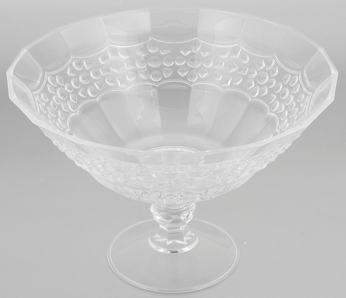 Салатник Cristal dArques Allure, диаметр 25,5 смG5667Салатник Cristal dArques Allure изготовлен из из специально разработанного стекла Diamax в форме большой чаши на ножке, декорирован рельефом. Данный салатник сочетает в себе изысканный дизайн с максимальной функциональностью. Он прекрасно впишется в интерьер вашей кухни и станет достойным дополнением к кухонному инвентарю. Такой салатник не только украсит ваш кухонный стол и подчеркнет прекрасный вкус хозяйки, но и станет отличным подарком. Диаметр (по верхнему краю): 25,5 см. Высота: 17 см. Диаметр основания: 11 см.