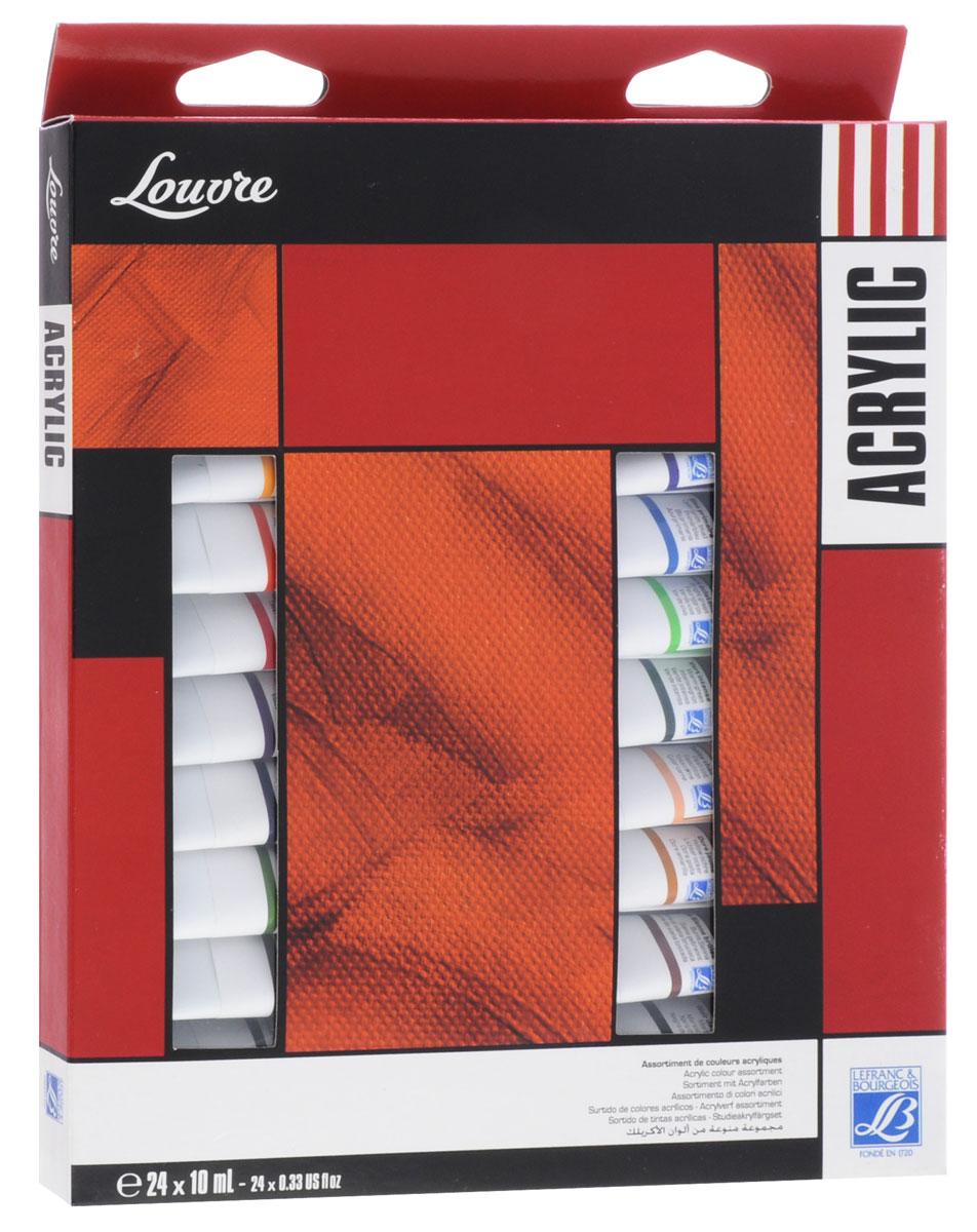 Краски акриловые Lefranc & Bourgeois Louvre, 10 мл, 23 цветаPP-001Акриловые краски Lefranc & Bourgeois Louvre предназначены для декоративно-оформительских работ и прикладного творчества. Они наносятся на бумагу, холст, дерево, стекло, металл, пластик, кожу, ткань, керамику, пластилин, глину и используются для создания коллажей, как цветной клей и фон-основа для аппликаций. Палитра красок включает в себя 23 разных оттенка. В набор входят 24 металлические тубы с красками по 10 мл (22 тубы с разными и оттенками и 2 тубы с белым цветом), которые упакованы в картонную коробку.