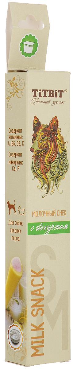 Лакомство для средних собак Titbit, молочный снек с йогуртом0120710Молочный снек Titbit с йогуртом - это вкусное и полезное лакомство для собак. Натуральная молочная начинка придает снеку непревзойденный вкус и аромат, а благодаря специально разработанной текстуре, снек эффективно удаляет мягкий зубной налет. Состав: Рис, йогурт сублимированный 30%, клетчатка, лецитин, минеральный комплекс, натуральные ароматизаторы, натуральные красители, витамины А, В6, D3, СПищевая ценность в 100 г: белки - 9 г, жиры - 3 г, зола - 2 г, клетчатка - 2 г, влага - 12 г, кальций - 1 г, фосфор - 1г. Энергетическая ценность в 100 г продукта: 323 ккал. Хранить при температуре от 12° С до 22° С и относительной влажности не более 65%. Открытую упаковку хранить не более трех дней. Рекомендуемая норма потребления для собак старше 12 недель - 10% от суточного рациона. Товар сертифицирован.