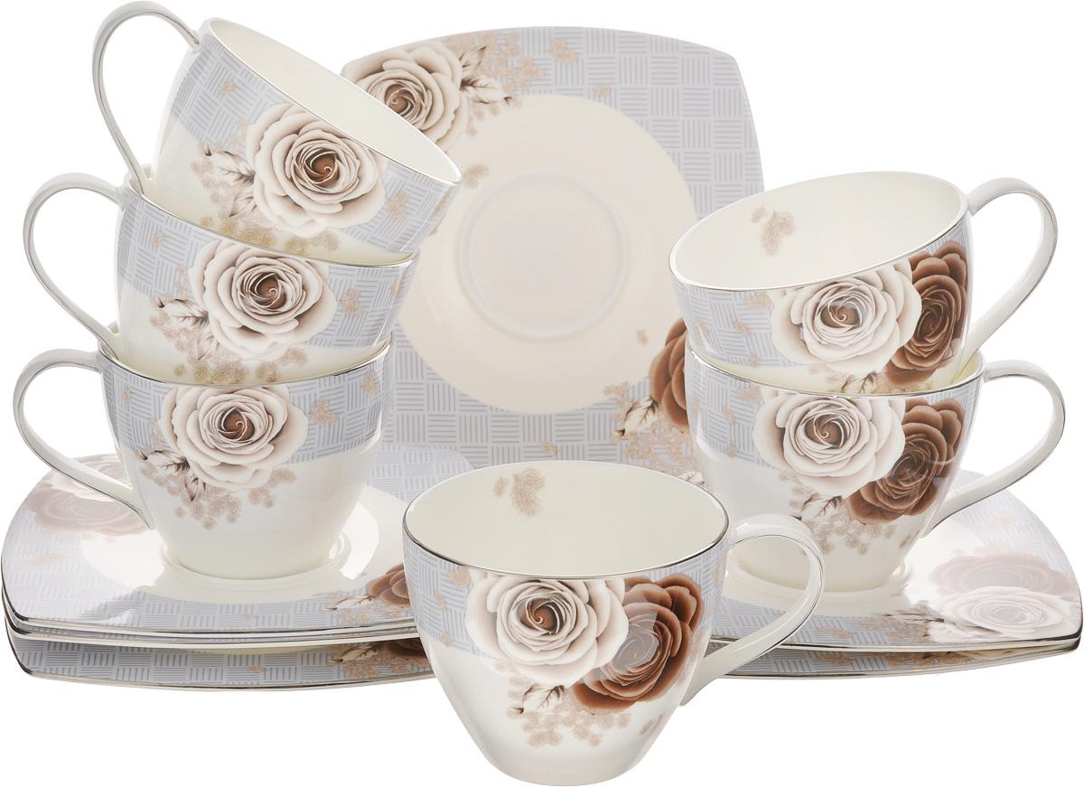 Набор чайный Family & Friends Дэниш, 12 предметов115510Чайный набор Family & Friends Дэниш состоит из шести чашек и шести блюдец, выполненных из фарфора. Изделия оформлены изящным цветочным рисунком. Изящный набор эффектно украсит стол к чаепитию и порадует вас функциональностью и ярким дизайном. Объем чашки: 280 мл. Диаметр чашки (по верхнему краю): 9 см. Высота чашки: 7 см. Размер блюдца: 15,5 х 15,5 х 1 см.