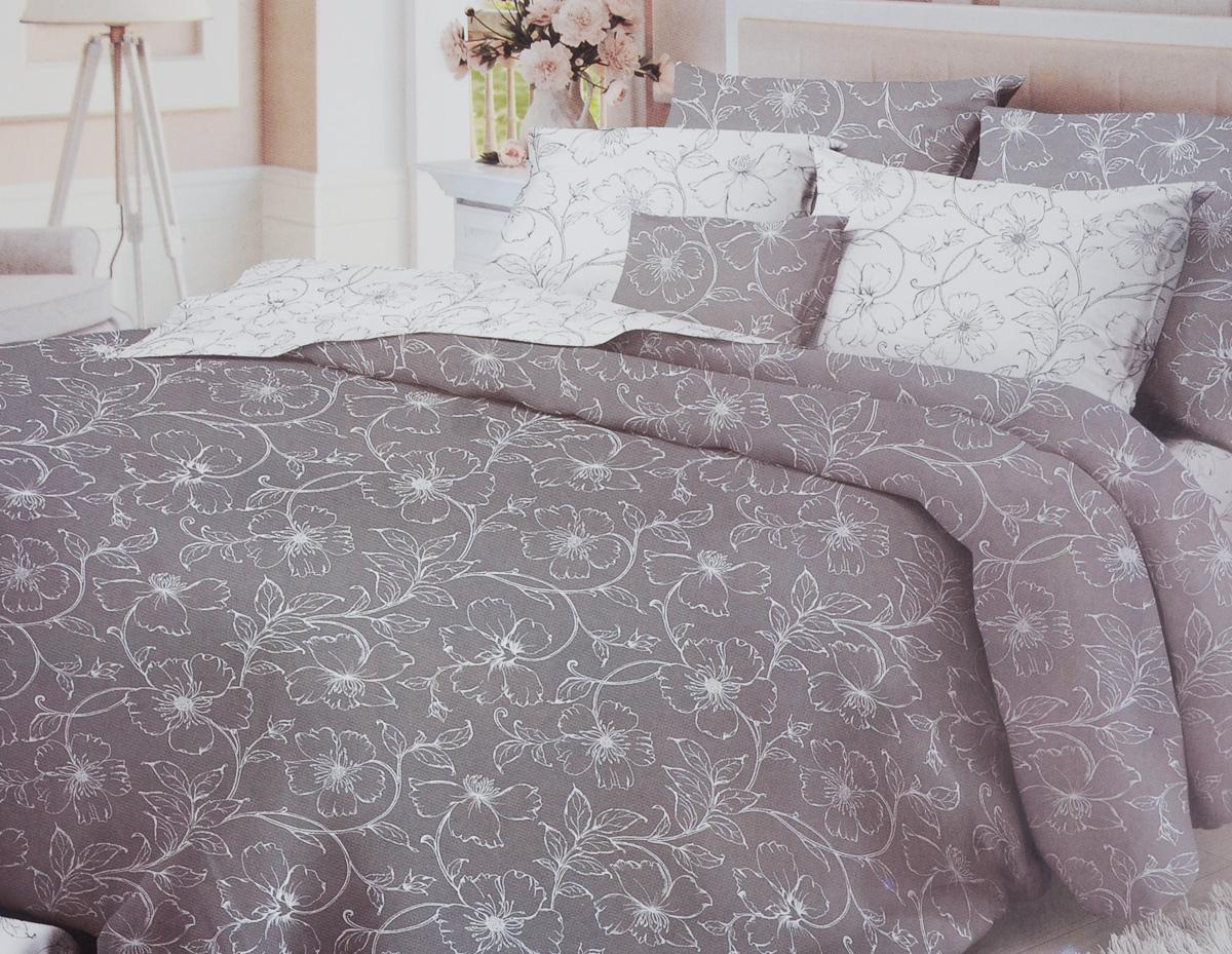 Комплект белья Verossa Tiffany, 2-спальный, наволочки 50x70, цвет: белый, серый146538Комплект белья Verossa Tiffany состоит из пододеяльника, простыни и двух наволочек. Предметы комплекта оформлены изысканным цветочным узором. Белье изготовлено из ткани Сатин Роял - это легкая, прочная, шелковистая ткань, которая производится из высококачественного натурального хлопка по итальянским технологиям. Переливы сатина завораживающе красивы, рисунки и оттенки цвета выглядят живыми и объемными. Именно за счет блеска эта ткань схожа с шелком, но значительно дешевле. Роскошь для глаз сменяется роскошью прикосновений. Сатин шелковистый на ощупь, он будто ласкает кожу. Сатин обладает еще массой достоинств - не садится, не пилингуется, не линяет. Обладает высокой мягкостью, гладкостью, что позволяет ощутить особый комфорт во время сна. Сатиновое постельное белье Verossa - выбор ценителей роскошных удовольствий и комплимент изысканному вкусу.