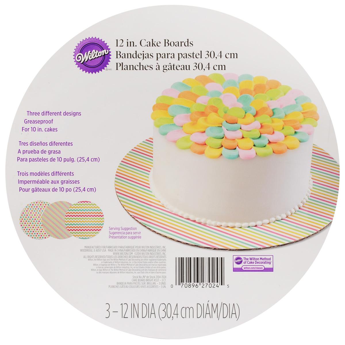 Основа для торта Wilton, диаметр 30,5 см, 3 штWLT-2104-7024Круглая основа для торта Wilton изготовлена из гофрированного картона с жиронепроницаемым покрытием, оформленным красочным принтом. Изделие предназначено для угощений и закусок (тортов, пирожных, канапе). Основа удобна для работы, перекладывания коржей, хранения и переноски торта. В комплекте 3 основы. Диаметр: 30,5 см.