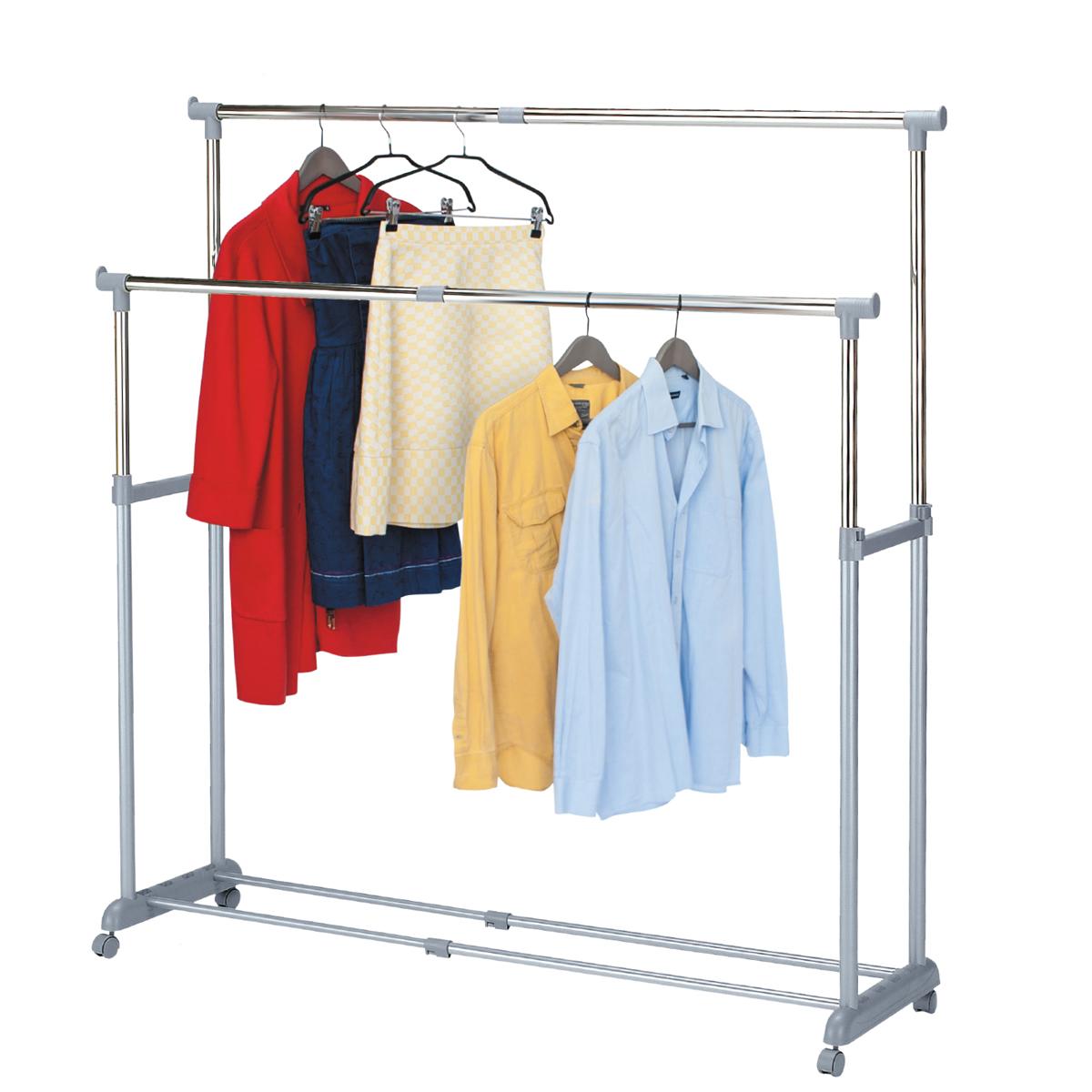 Стойка для одежды Tatkraft Big Party , с регулируемой шириной, двойная, цвет: серый13322Tatkraft BIG PARTY Стойка для одежды раздвижная в ширину двойная, регулируемая высота, мобильная. Материал: сталь (хромированная и с пудровым напылением), пластик. 95-161.5Шx44Гx96.5-166В см. 3,2 м для вывешивания, 60 вешалок, 30 кг. Упаковка: цветная коробка.