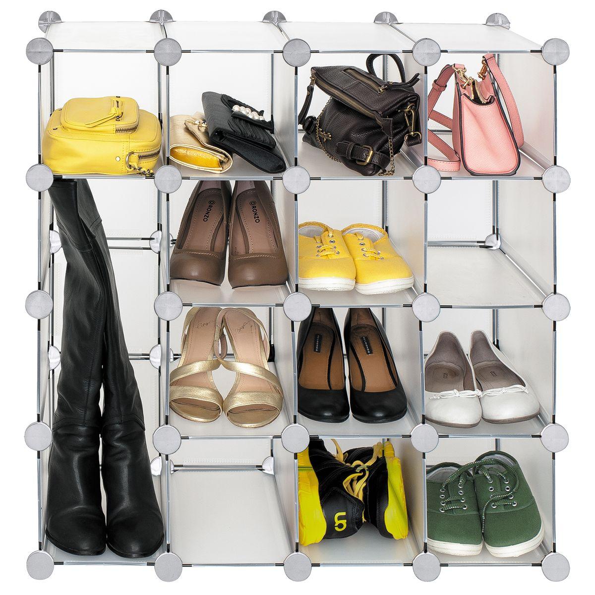 Стеллаж для обуви Tatkraft Smart Cube, цвет: серый13346Стеллаж для обуви, 16 ячеек. Современный дизайн,легко моющиеся полупрозрачный материал. Умный конструктор - регулируемая форма впишется в любое помещение, размер кубов меняется для различного использования . Подходит для обуви, сапог, сумок, игрушек.