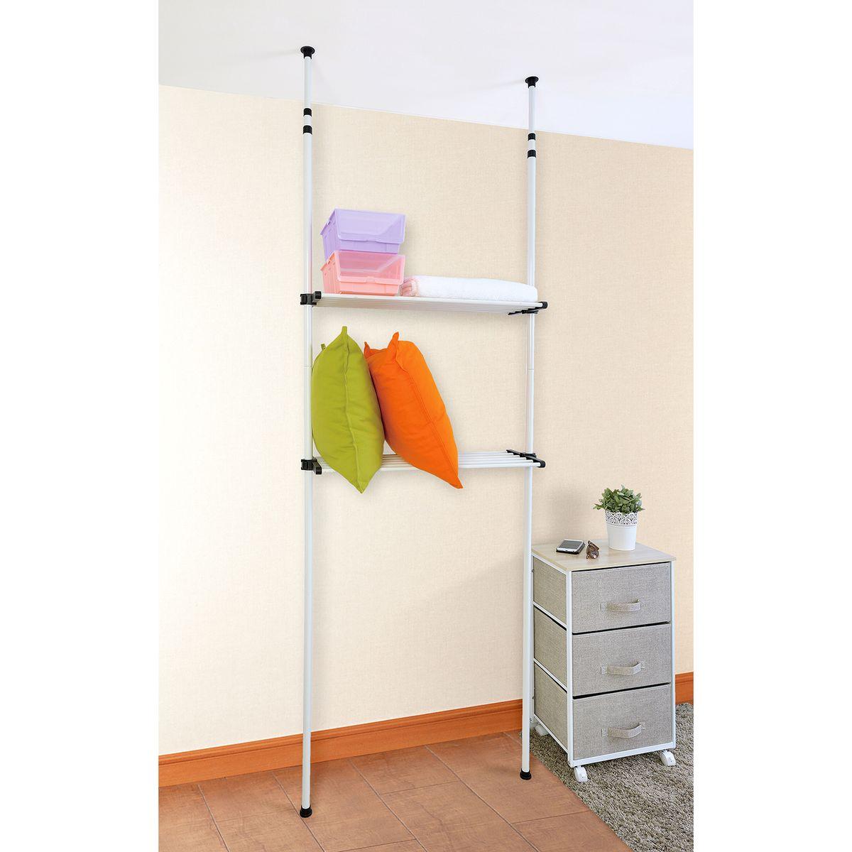 Стойка для одежды Tatkraft Samson, телескопическая, цвет: хром13384Tatkraft SAMSON Телескопическая стойка для хранения, две полки для организованного хранения в ванной комнате или в туалете, полки из частых прутья можно использовать как сушилку для полотенец или одежды. Компактная, регулируемая высота - впишется в любое помещение. Размеры: 80*24,5*240-280 см. Материал: сталь, пластик. Упаковка: коробка с наклейкой