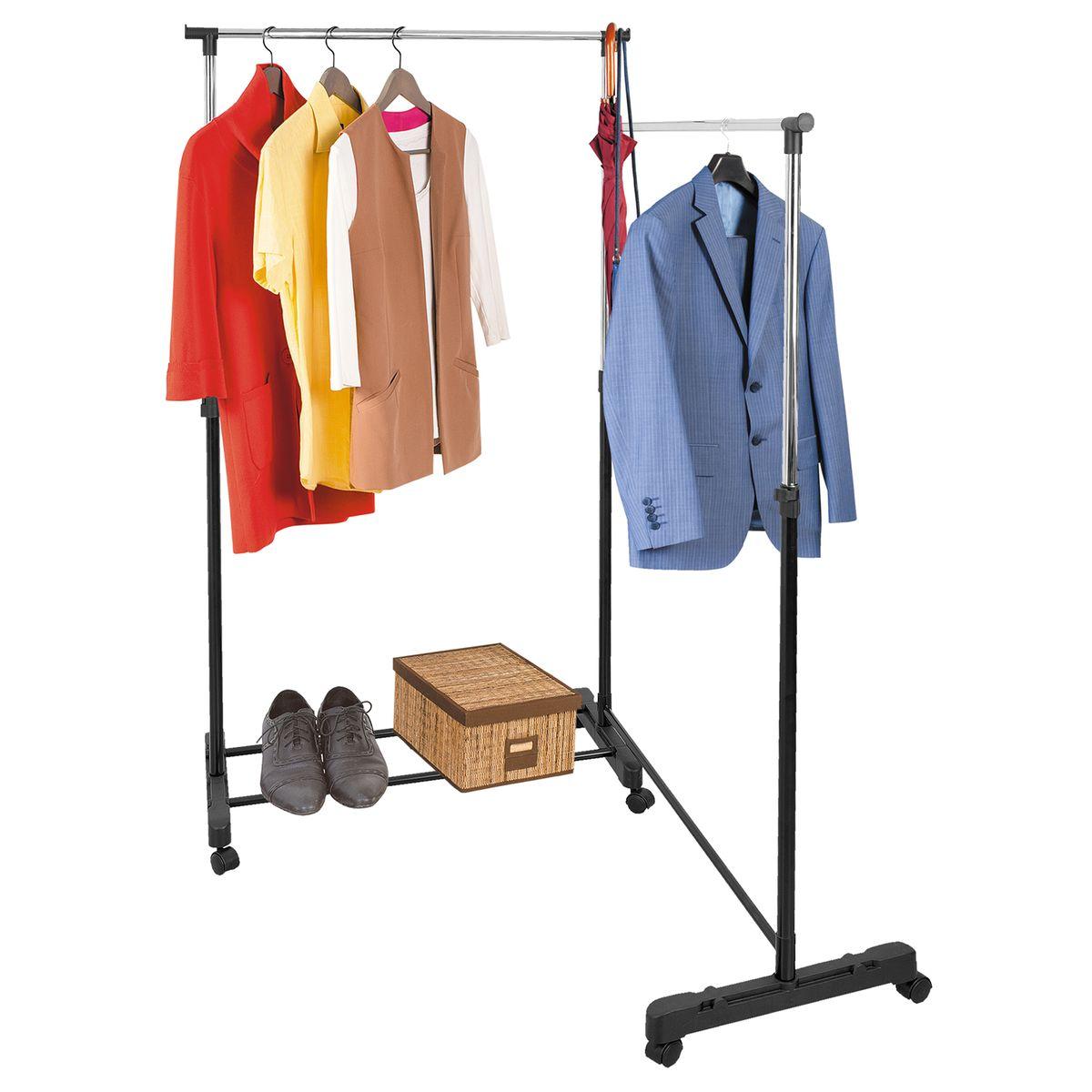 Стойка для одежды Tatkraft Twins, двойная, на колесах, с выдвижными штангами13377Двойная стойка Tatkraft Twins выполнена из хромированной стали и пластика. Она подойдет для хранения большого гардероба, а также незаменима для большой семьи. Свободно вращающиеся колесики и небольшой вес, обеспечивают стойке практически неограниченную мобильность, что, с одной стороны, существенно облегчает уборку, а с другой - не стесняет ваших передвижений в собственном доме. Прочная основа и регулируемая форма стойки для одежды с легкостью выдерживают вес до 30 кг, она может вместить до 40 вешалок с рубашками, платьями и с верхней одеждой. Крючки по бокам позволят хранить сумки и зонты, а на планках внизу стойки можно компактно поместить коробки с обувью. Надежные зажимы регулируют высоту планки комфортную именно для вас. В современной жизни с ее быстрым ритмом ценится каждая минута, а порядок в доме позволяет не тратить лишнее время на поиск вещей. Важно, чтобы все было под рукой, занимало как можно меньше места и служило...