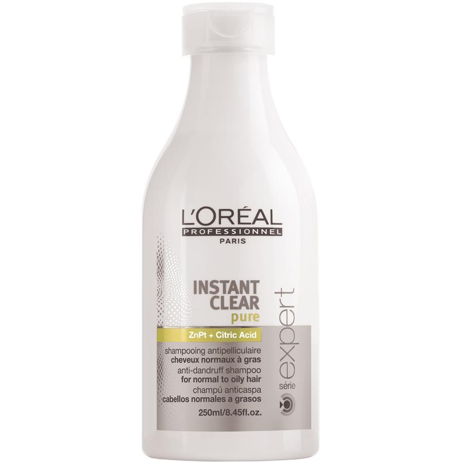 LOreal Professionnel Instant – Шампунь от перхоти 250 млE0408456LOreal Professionnel Instant Clear Pure Shampoo Шампуньотперхоти профессиональное ухаживающее средство за волосами и кожей головы. Регулярное использование Instant Clear Pure Shampoo не просто избавляет от перхоти, а предотвращает ее появление вновь. Минеральные и питательные вещества, входящие в состав шампуня, глубоко увлажняют, очищают, питают и смягчают кожу, придавая ей жизненные силы, делая ее упругой и эластичной. Эффект использования шампуня становится заметен уже при первом применении, перхоть и зуд кожи головы исчезают, волосы приобретают естественный блеск и прекрасный здоровый вид. В состав средства также включены пиритион цинка, отвечающий за регенерацию клеток кожи и устранение перхоти, и альфа-бисаболол, оказывающий успокаивающее действие на кожу головы, избавляя от зуда и дискомфорта. Использование шампуня быстро нормализует работу сальных желез, восстанавливает и усиливает кровообращение кожи головы, что способствует укреплению корней волос. Шампунь от перхоти...