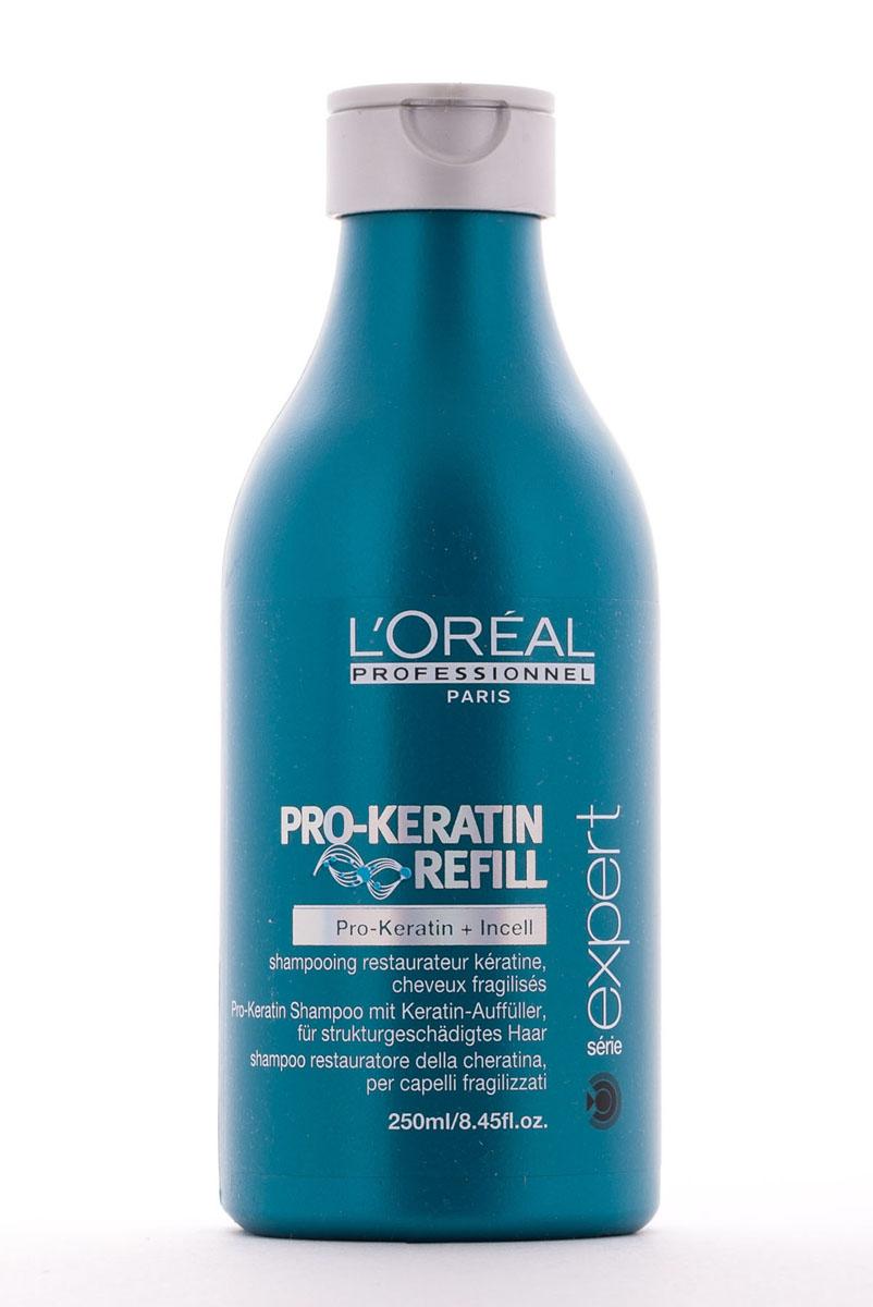 LOreal Professionnel Восстанавливающий и укрепляющий шампунь для поврежденных волос Expert Pro-Keratin Refill Shampoo - 250 млFS-00103Шампунь Pro-Keratin Refill предназначен для регулярного применения. Содержит микроэлементы, глубоко проникающие в структуру волоса, а также обволакивает волос микропленкой, которая защищает его от вредного воздействия извне и предотвращает вымывание полезных веществ.Укрепляет волосяной фолликул и уплотняет волосы.Препятствуя чрезмерному выпадению волос, способствуя здоровому росту волос.Устраняет нежелательную пушистость и делает волосы послушными.Придает дополнительный блеск, необходимую гладкость и шелковистость.Восстанавливает поврежденные чешуйки волос, интенсивно питает, защищает от негативного воздействия среды.Благодаря регулярному применению шампуня LOreal Professionnel Pro-Keratin Refill Shampoo, ваши волосы вновь обретут природную силу, здоровое сияние, став более крепкими, густыми и сияющими.Активные компоненты: Pro-кератин, молекулы Incell, протеины пшеницы, аргинин, фруктовые экстракты.Применение: После использования шампуня подсушите волосы полотенцем. Аккуратно вотрите кондиционер от корней до кончиков волос. Оставьте на 2-3 минуты. Тщательно смойте. В случае попадания в глаза, незамедлительно промойте их большим количеством воды.