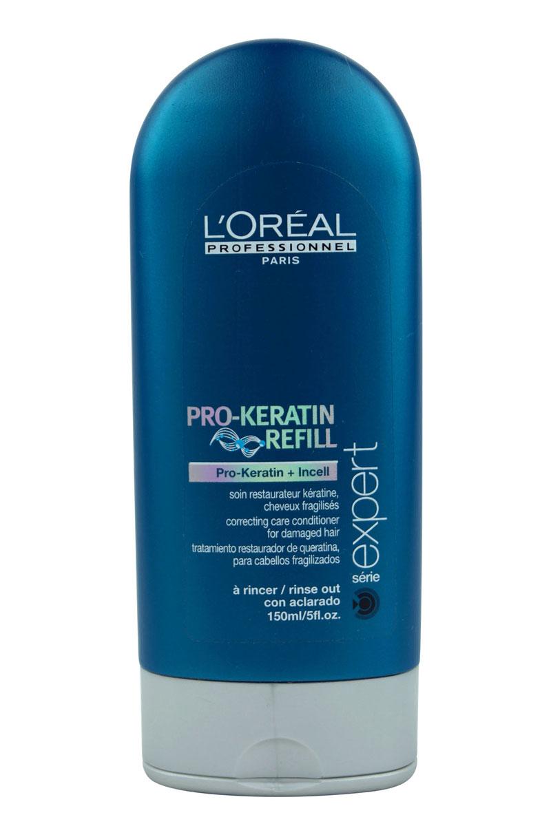 LOreal Professionnel Смываемый восстанавливающий и укрепляющий уход для поврежденных волос Expert Pro-Keratin Refill - 150 млE0525870Корректирующее смываемое ухаживающее средство Про-Кератин Рефил Correcting Care Conditioner помогает вернуть волосам красоту и здоровье, восполнить недостаток кератина – строительного материала для волос. Кондиционер глубоко проникает в волос и восстанавливает поврежденные участки, помогает улучшить состояние поврежденных волос. Питает активными веществами и смягчает. Укрепляя кутикулу, придает волосам жизненную силу и упругость от корней до кончиков. Благотворно влияет на клетки кожи головы, укрепляя, тем самым, корни и способствуя лучшему росту волос. Возвращает природный объем и значительно уплотняет тонкие волосы. Защищает от УФ-фильтра и пересушивания. Регулярное применение Correcting Care Conditioner дарит волосам жизненную силу и естественный блеск, защищая их от негативного воздействия окружающей среды. Активные компоненты: Кератин, комплекс витаминов, молекулы Incell, протеины пшеницы, фруктовые экстракты.