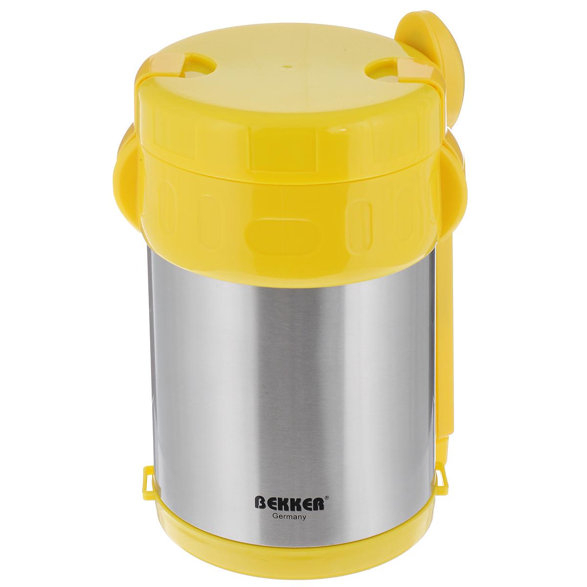 Термос Bekker Koch, с контейнерами, цвет: желтый, стальной, 2 л. BK-42BK-42_желтыйПищевой термос с широким горлом Bekker Koch, изготовленный из высококачественной нержавеющей стали 18/8, является простым в использовании, экономичным и многофункциональным. Изделие с двойными стенками оснащено тремя контейнерами, ложкой и вилкой в оригинальном чехле и специальным ремнем для удобной переноски термоса. Термос с широким горлом предназначен для хранения горячей и холодной пищи, замороженных продуктов, мороженного, фруктов и льда и укомплектован вакуумной крышкой без кнопки. Такая крышка надежна, проста в использовании и позволяет дольше сохранять тепло благодаря дополнительной теплоизоляции. Легкий и прочный термос Bekker Koch сохранит ваши напитки и продукты горячими или холодными надолго. Высота (с учетом крышки): 22 см. Диаметр горлышка: 13 см. Диаметр контейнеров: 11,5 см. Высота контейнеров: 9 см; 5 см; 3,5 см. Объем контейнеров: 700 мл; 400 мл; 250 мл. Длина вилки/ложки: 15 см.