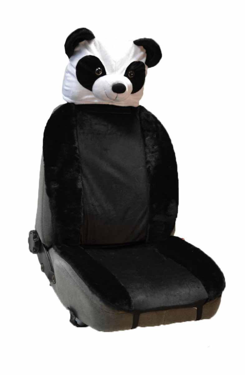 Накидка на полное сидение Auto premium Панда с анимачехлом на подголовник, цвет: черно-белый. 4711747117Мягкая и удобная накидка на полное сидение. Чехол на подголовник «Панда» входит в комплект. Комфортная накидка сделана из искусственного меха в сочетании с плюшем. На Ваш автомобиль будут смотреть с нескрываемым удивлением. Накидка крепится на любое автомобильное сиденье