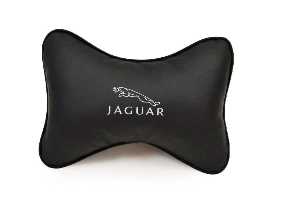 """Подушка на подголовник Auto premium """"JAGUAR"""", цвет: черный. 37033"""