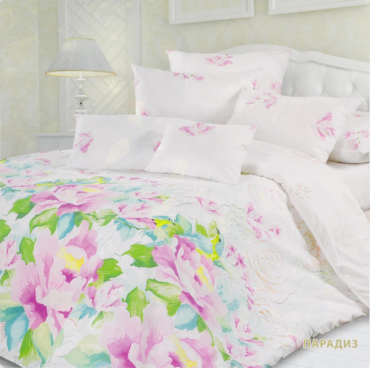 Комплект белья Унисон Парадиз, евро, наволочки 70х70, цвет: белый, розовый, зеленый297242Комплект постельного белья Унисон Парадиз состоит из пододеяльника, простыни и двух наволочек. Постельное белье оформлено оригинальным ярким изображением цветов. Такой дизайн придется по душе каждому. Белье изготовлено из новой ткани Биоматин, отвечающей всем необходимым нормативным стандартам. Биоматин - это ткань полотняного переплетения, из экологически чистого и натурального 100% хлопка. Неоспоримым плюсом белья из такой ткани является мягкость и легкость, она прекрасно пропускает воздух, приятна на ощупь и за ней легко ухаживать. При соблюдении рекомендаций по уходу, это белье выдерживает много стирок, не линяет и не теряет свою первоначальную прочность. Уникальная ткань обеспечивает легкую глажку. Приобретая комплект постельного белья Унисон Парадиз, вы можете быть уверенны в том, что покупка доставит вам и вашим близким удовольствие и подарит максимальный комфорт.