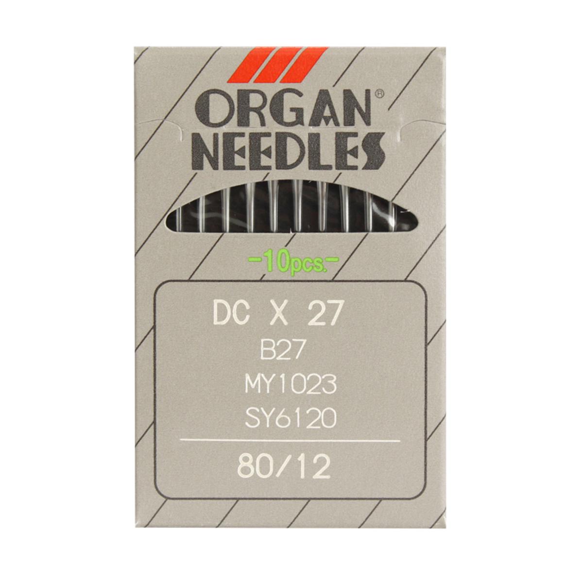 Иглы для промышленных швейных машин Organ, DCx27/80, 10 шт162274Иглы для промышленных швейных машин Organ с маркировкой DCx27 предназначены для оверлочных швейных машин. Иглы используются для пошива всех видов тканей. Острие игл тонкое, стандартное. Предназначены для оверлоков 51, 208 класса, их модификаций и импортных аналогов. В промышленных машинах используются иглы с круглыми колбами, в отличие от игл бытовых машин, у которых колбы плоские. Круглая колба позволяет при наладке машины и установке иглы поворачивать (вращать) иглу, закрепляя ее в нужном положении. Диаметр колбы: 2,02 мм. Длина иглы: 28,6 мм. Номер игл: 80.
