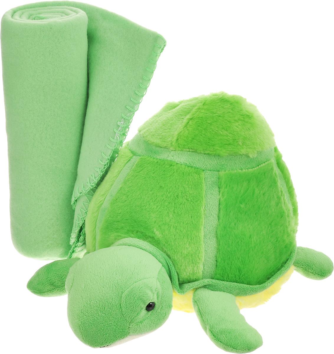 Набор Home Queen Черепашка: плед, игрушка, цвет: зеленый67427Набор Home Queen Черепашка состоит из мягконабивной игрушки и флисового пледа желтого цвета. Мягкий флисовый плед согреет в прохладные вечера и сделает ваш дом уютным. Плед не скатывается и не вызывает аллергии, легко стирается и быстро сохнет. Таким пледом можно уютно укрыться дома или взять с собой в путешествие. Игрушка в виде черепашки изготовлена из приятного на ощупь плюша с мягким синтепоном внутри. Может использоваться как подушка. Набор Home Queen Черепашка - интересный и полезный подарок для ребенка. Плед и игрушка прекрасно дополнят интерьер детской и порадуют вашего малыша.