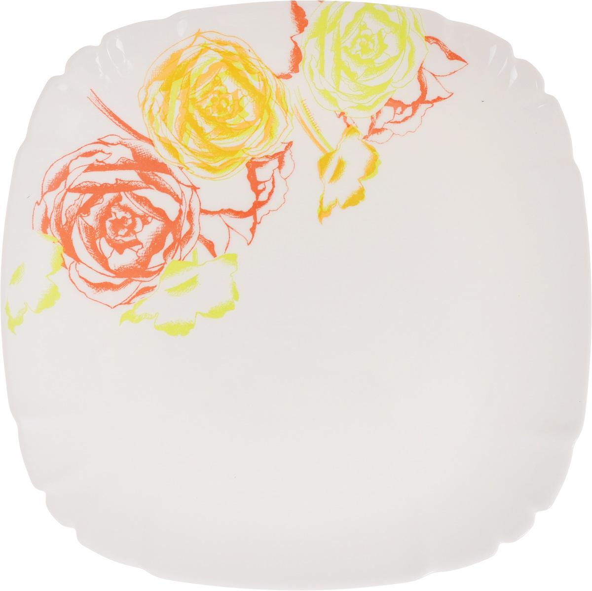Тарелка десертная Luminarc Amaria, 21 х 21 см115510Квадратная десертная тарелка Luminarc Amaria, изготовленная изударопрочного стекла, декорирована изображением цветов. Такая тарелка прекрасно подходит как дляторжественных случаев, так и для повседневногоиспользования. Идеальна для подачи десертов, пирожных, тортов имногого другого. Она прекрасно оформит стол и станетотличным дополнением к вашей коллекции кухоннойпосуды. Размеры тарелки (по верхнему краю): 21 х 21 см. Высота тарелки: 1 см.