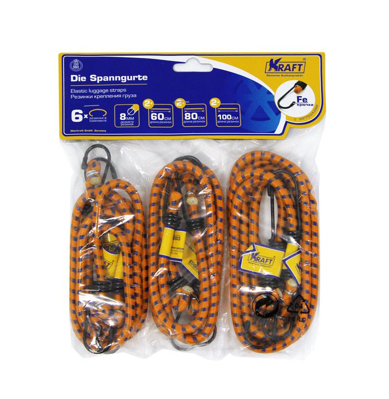 Набор резинок Kraft, 6 штКТ 8600032 шт.- 60 см,2 шт.- 80 см, 2 шт.- 100 см,D=8 мм(метал.крючки)