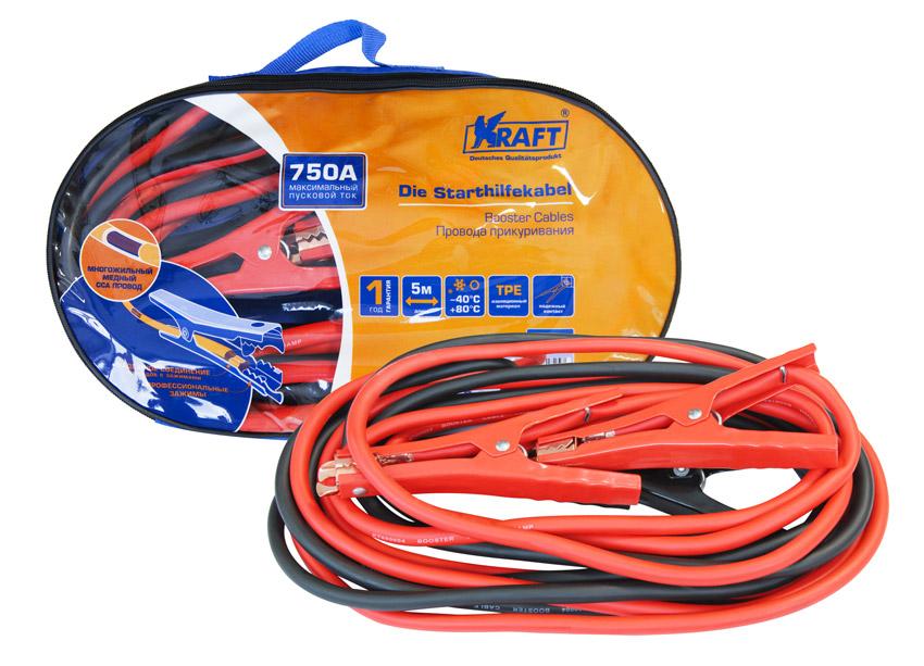 Провода прикуривания Kraft, 750АКТ 880004750 ампер,многожильный медный ССА провод, профессиональные зажимы, рабочая тем-ра от -40°С до +80°С