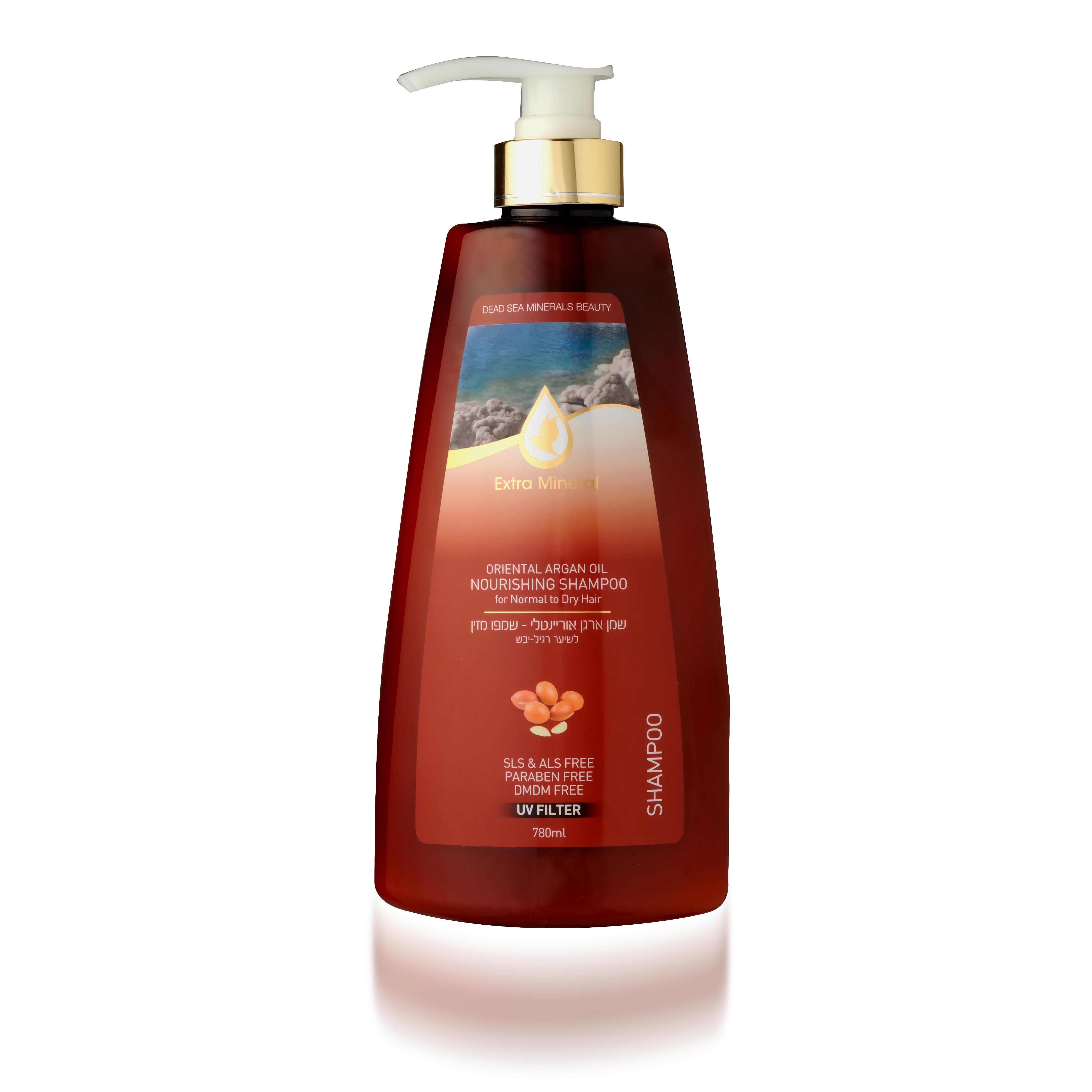 Extra Mineral Питательный шампунь для нормальных и сухих волос с маслом Арганы 780 млEXM2004Шампунь Extra Mineral с маслом арганы, питательный. Содержит аргановое масло, витамин B5, витамин Е, минералы Мертвого моря. В составе содержит UV-фильтр, который защищает волосы от ультра-фиолетовых лучей, очищает волосы от соли, хлора и песка, восстанавливает баланс кожи головы. Волшебное сочетание активных натуральных компонентов благотворно влияет на волосы и кожу головы, волосы увлажняются и питаются, становятся шелковистыми. Нежная легкая пена дает ощущение свежести. Вы сразу почувствуете, как волосы начинают дышать, а изысканный легкий ореховый аромат не оставит вас равнодушным и даст заряд хорошего настроения на целый день! Благодаря активному действию минералов Мертвого моря волосы насыщаются необходимыми минералами, волосы оздоравливается, улучшается их внешний вид; улучшается клеточный метаболизм кожи головы и лица, стимулируется синтез белка, повышается регенерация клеток. Минералы обладают сильными антиаллергенными свойствами и являются мощными антиоксидантами; повышается...