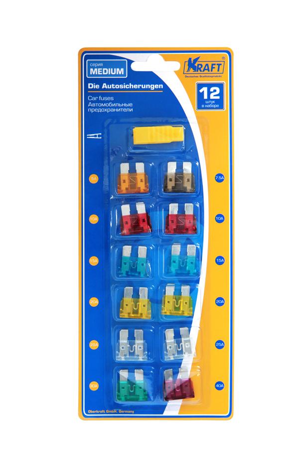 Набор предохранителей Kraft MEDIUM, 12 штКТ 870000Состав блистера (12шт): предохранитель 5 ампер - 1 шт, 7,5А - 1 шт, 10А - 2шт, 15А-2шт, 20А-2шт, 25А-2шт, 30А-1шт, 40А-1шт. В состав входит удобный пинцет для замены предохранителей.