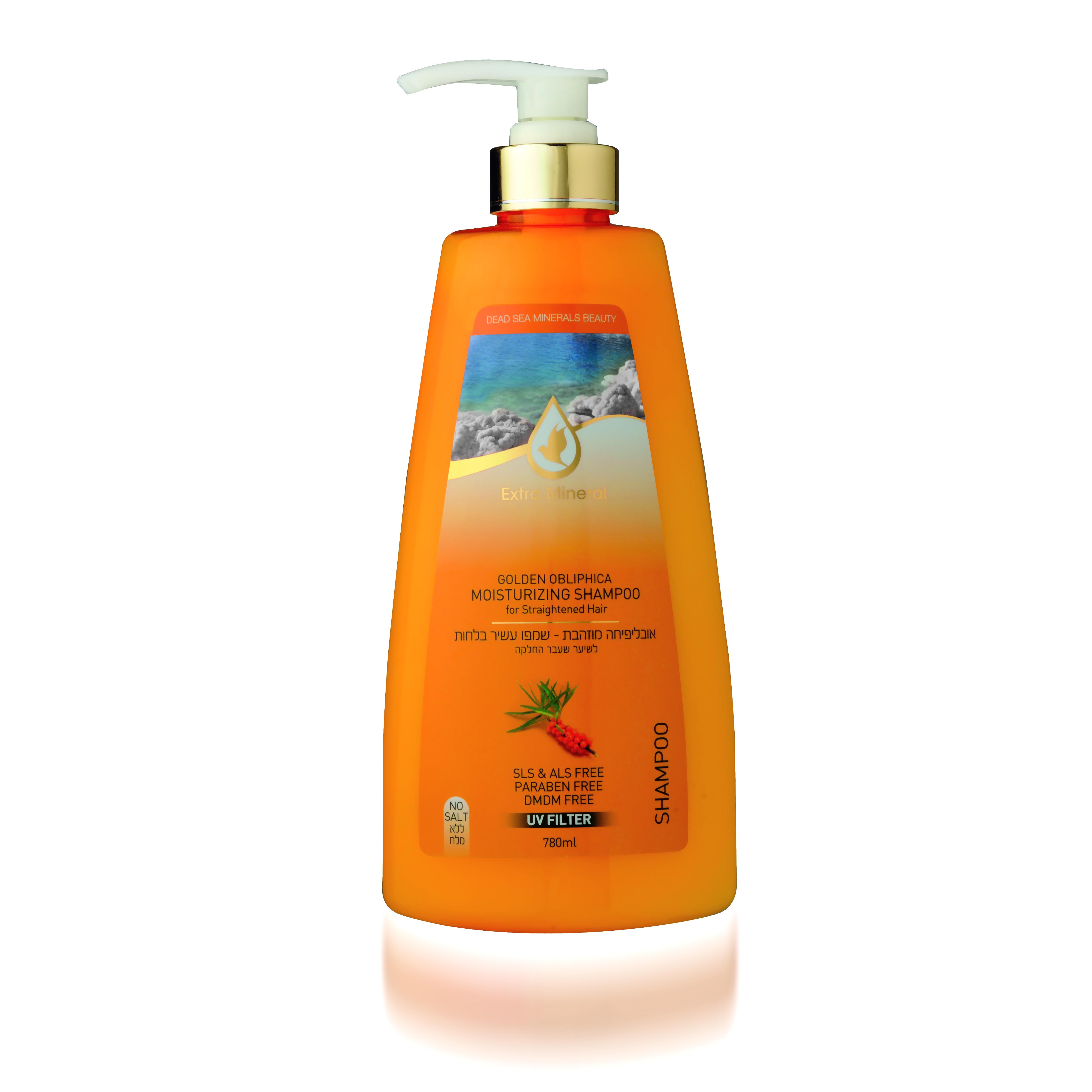 Extra Mineral Увлажняющий шампунь с облепихой для всех типов волос 780 млFS-00103Шампунь Extra Mineral с золотой облепихой, увлажняющий, укрепляющий. Содержит масло облипихи, оливковое масло, витамин минералы Мертвого моря. В составе содержит UV-фильтр, который защищает волосы от ультра-фиолетовых лучей, очищает волосы от соли, хлора и песка, восстанавливает баланс кожи головы. Волшебное сочетание активных натуральных компонентов благотворно влияет на волосы и кожу головы, волосы увлажняются и питаются, становятся шелковистыми. Нежная легкая пена дает ощущение свежести. Вы сразу почувствуете, как волосы начинают дышать, а изысканный аромат облепихи не оставит вас равнодушным! Благодаря активному действию минералов Мертвого моря волосы насыщаются необходимыми минералами, волосы оздоравливается, улучшается их внешний вид; улучшается клеточный метаболизм кожи головы и лица, стимулируется синтез белка, повышается регенерация клеток. Минералы обладают сильными антиаллергенными свойствами и являются мощными антиоксидантами; повышается микроциркуляция крови, улучшается состояние кожи и подкожной клетчатки, волосы увлажняются и питаются, а кожа лица и головы омолаживается; оптимизируется оптимальный уровень Ph волос и кожи. Минералы Мертвого моря оказывают защитное действие от УФ-лучей. Шампунь прекрасно увлажняет волосы, восстанавливая их структуру, делает волосы более послушными и возвращает им естественный блеск. Шампунь оказывает противовоспалительное действие, способствует ускорению заживления, оказывает антиоксидантное и успокаивающее действие, питает и смягчает кожу, помогает бороться с шелушением, устраняет следы высыпаний. При втирании в кожу головы помогает улучшить состояние сухих и секущихся волос. Волосы интенсивно питаются, становятся гладкими, шелковистыми, излучают здоровый блеск. Рекомендовано для всех типов волос.