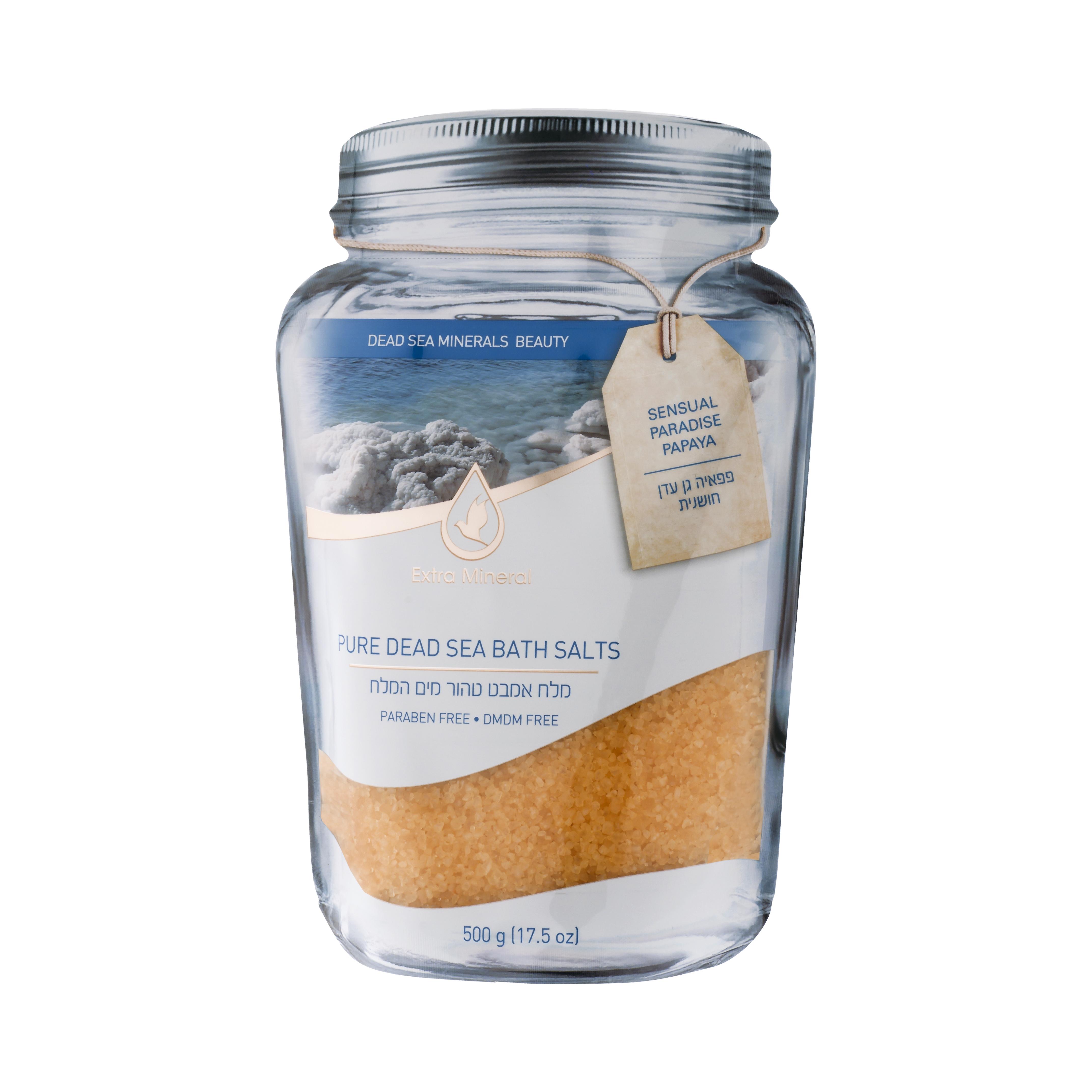 Extra Mineral Натуральная соль мертвого моря для ванн - чувственное с папайей 500 млEXM2303Соль Мертвого моря Extra Mineral. Чувственная райская папайя. 100% соль Мертвого моря, обогащенная минералами Мертвого моря с легким ароматом папайи - уникальный фруктовый аромат, мягкий и глубокий, чувственный и томный, неотразимо красочный, ласкающий, чудесный, экзотический, притягательный и невероятный пробудит желание и подарит истинное наслаждение. Соль Мертвого моря благотворно влияет на кожу и организм в целом, питая кожу минералами Мертвого моря, снимая напряжение в мышцах, органах, расслабляя и погружая в томную негу. Позвольте себе испытать ощущение полного расслабления на волшебном берегу Мертвого моря. Уникальная упаковка позволяет открывать и закрывать тубу многократно, сохраняя полезные свойства и аромат соли Мертвого моря Extra Mineral.